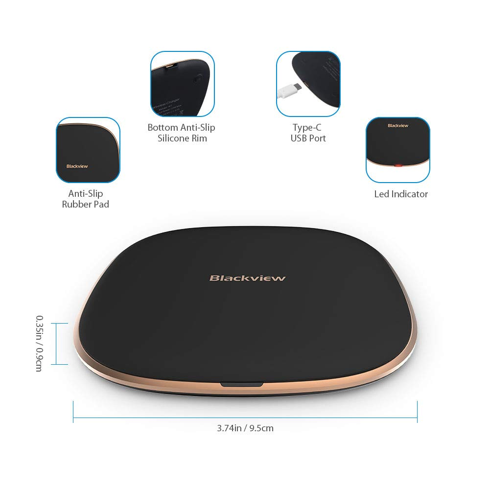 Blackview Wireless Charger QI Certificated, [Copper Coil] USB C Universal  10W Wireless Charging Pad for Samsung LG Moto HTC Google Smartphone and  7 5W